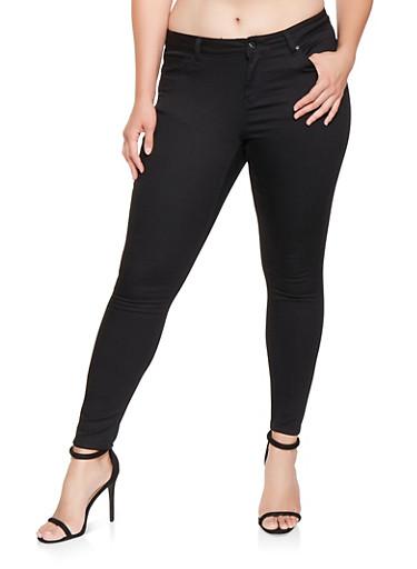 Plus Size Colored Push Up Pants,BLACK,large