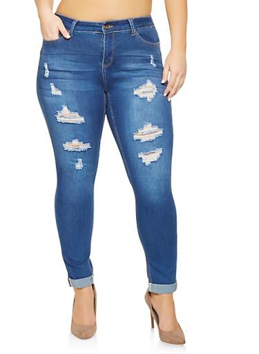 Plus Size WAX Push Up Cuffed Jeans,MEDIUM WASH,large
