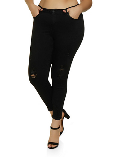 Plus Size WAX Distressed Skinny Push Up Jeans,BLACK,large