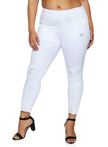 Plus Size WAX Frayed Hem Jeans,WHITE,large