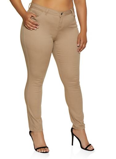 Plus Size Color Skinny Twill Pants,KHAKI,large