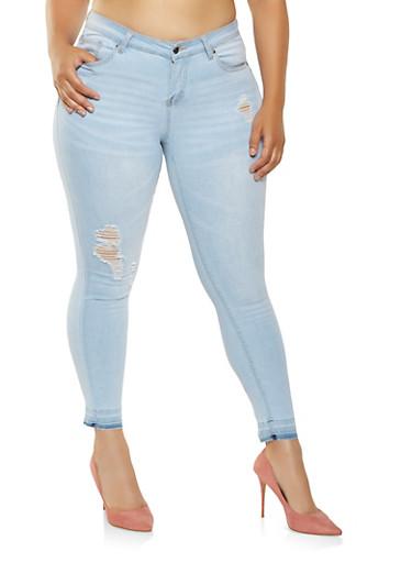 Plus Size WAX Distressed Skinny Jeans | Tuggl