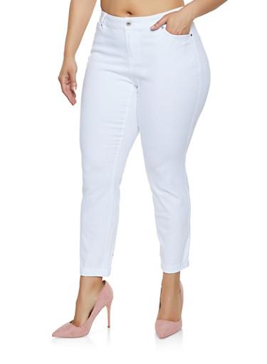 Plus Size Fixed Cuff Twill Pants,WHITE,large