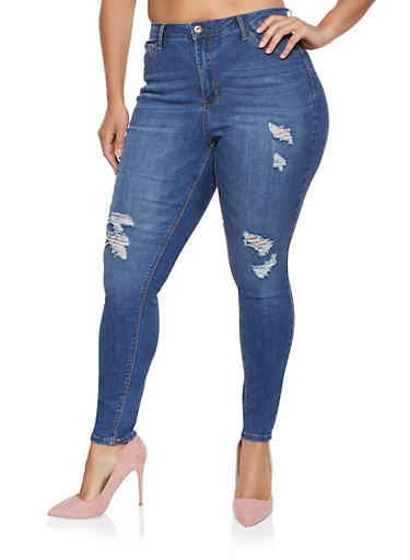 Plus Size WAX Push Up Distressed Jeans | 3870071619993,MEDIUM WASH,large