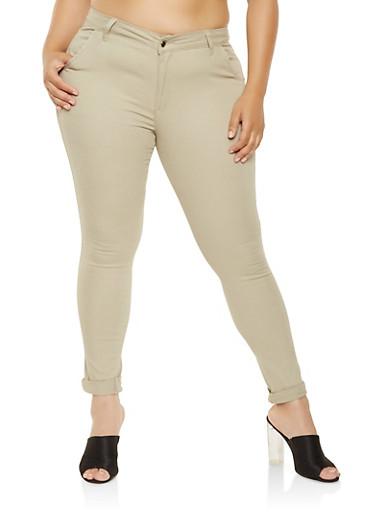 Plus Size Skinny Khaki Pants,KHAKI,large