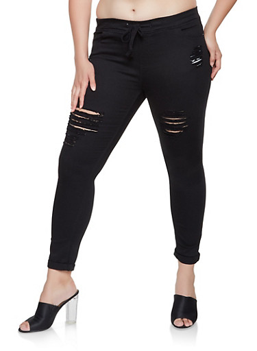 Plus Size Distressed Rolled Cuff Jeggings,BLACK,large