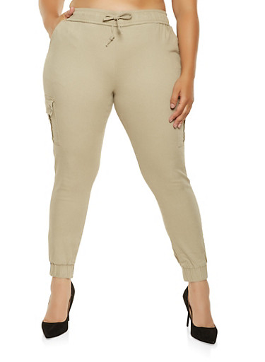 Plus Size Twill Cargo Joggers,BROWN,large