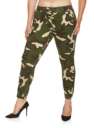 Plus Size Twill Joggers,GREEN,large