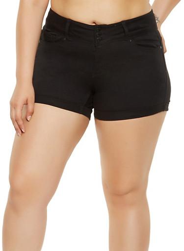 Plus Size WAX Push Up Denim Shorts,BLACK,large