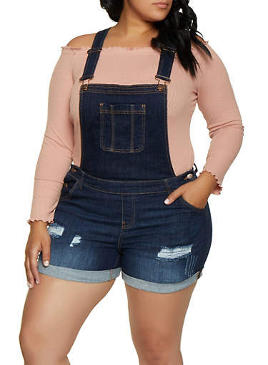 Plus Size Wax Cuffed Denim Shortalls by Rainbow