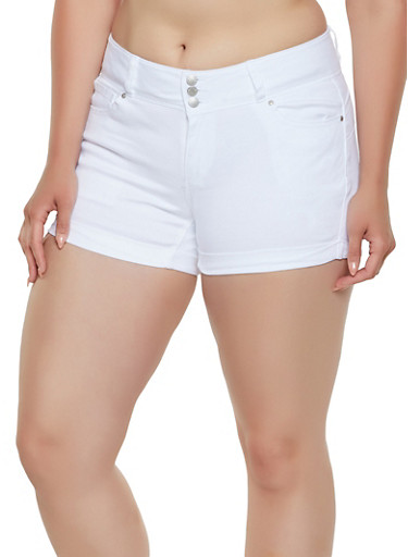 Plus Size WAX Solid Denim Shorts,WHITE,large