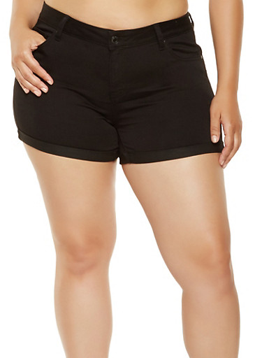 Plus Size WAX Push Up Jean Shorts,BLACK,large