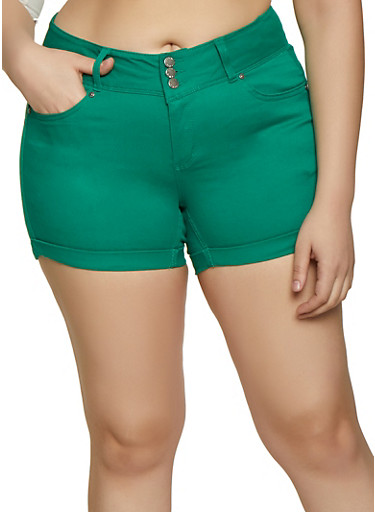 Plus Size WAX 3 Button Cuffed Jean Shorts,KELLY GREEN,large