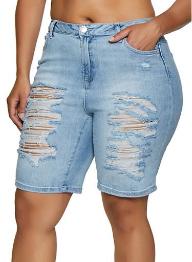 Plus Size Almost Famous Destruction Denim Bermuda Shorts,DENIM,large