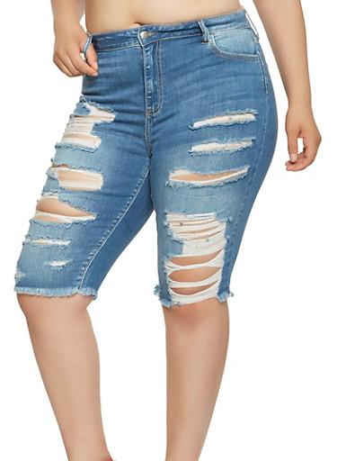 Plus Size Destroyed Denim Bermuda Shorts - 3872063156208