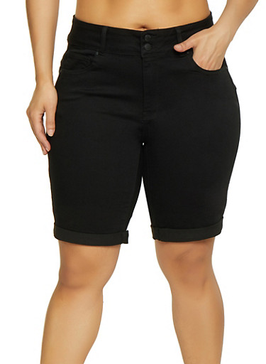 Plus Size WAX 2 Button Denim Bermuda Shorts,BLACK,large