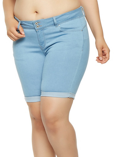 Plus Size WAX Denim Bermuda Shorts | Tuggl