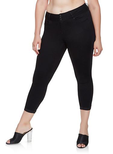Plus Size WAX 3 Button Push Up Jeans,BLACK,large