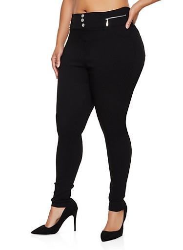 Plus Size Zip Trim Jeggings,BLACK,large