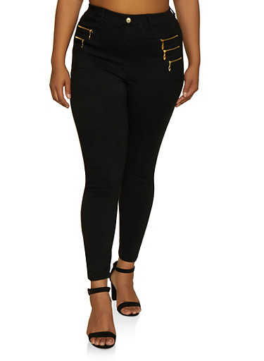 Plus Size Zip Detail Jeggings,BLACK,large
