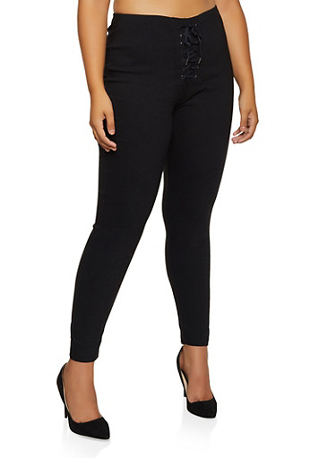 Plus Size Lace Up Pull On Pants,BLACK,large