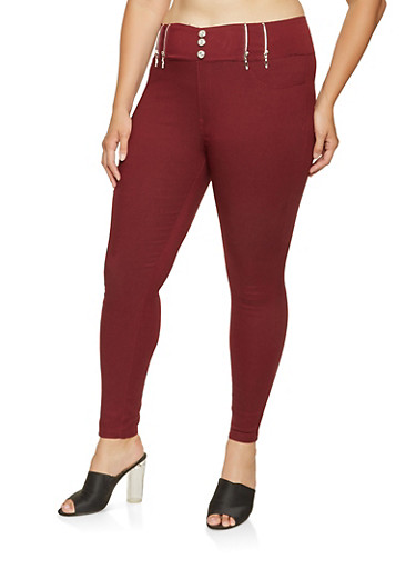 be98fa9fd2fdd Pinterest share product Plus Size Zipper Detail Jeggings