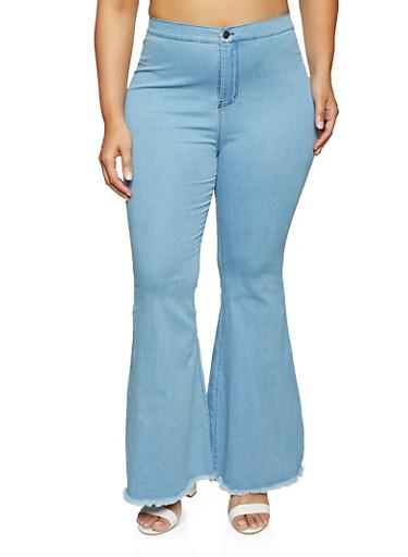 Plus Size High Waisted Frayed Hem Flare Jeans