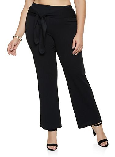 Plus Size Tie Front Textured Knit Pants,BLACK,large