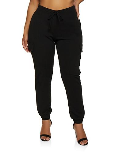Plus Size Textured Knit Cargo Joggers,BLACK,large