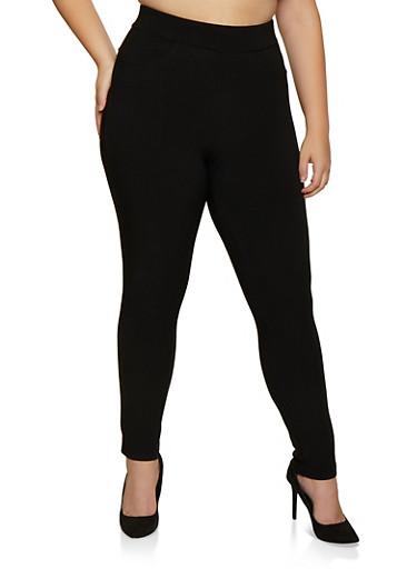 Plus Size Scuba Pull On Pants | 3874074641000,BLACK,large