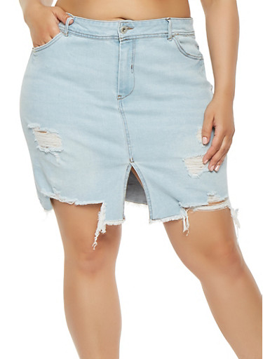 Plus Size Highway Front Slit Denim Skirt,LIGHT WASH,large