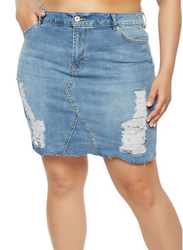 Plus Size Highway Frayed Denim Skirt,MEDIUM WASH,large