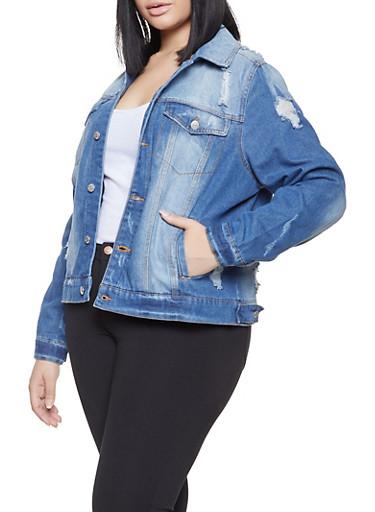 Plus Size Almost Famous Distressed Denim Jacket,MEDIUM WASH,large