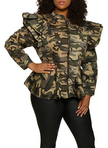 Plus Size Ruffle Shoulder Camo Peplum Jacket,OLIVE,large