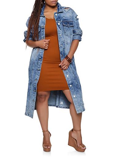 Plus Size Distressed Long Jean Jacket,MEDIUM WASH,large