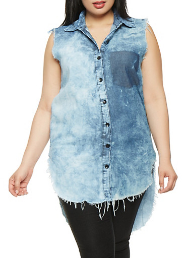 Plus Size Cloud Wash Chambray High Low Shirt,RINSE,large