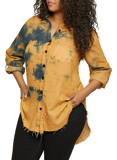 Plus Size Tie Dye High Low Shirt,COPPER,large