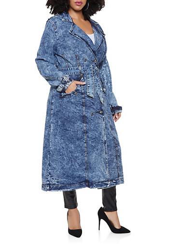 Plus Size Denim Trench Coat,LIGHT WASH,large
