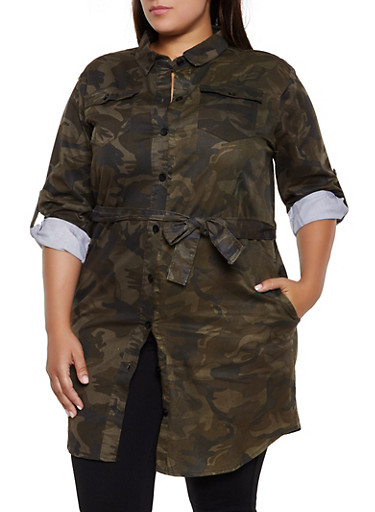 Plus Size Belted Camo Button Front Tunic Top,GREEN,large