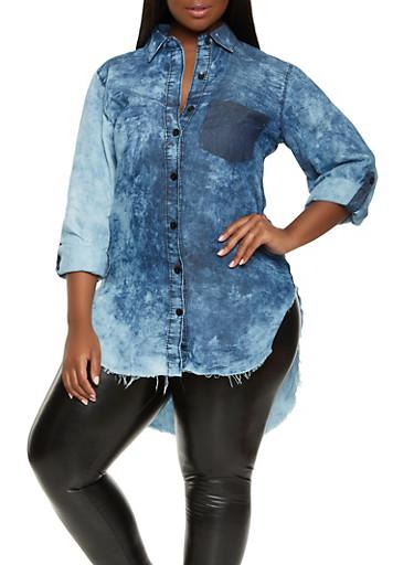 Plus Size Chambray High Low Shirt,RINSE,large