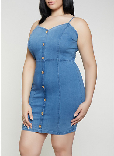 Plus Size Sleeveless Denim Bodycon Dress,LIGHT WASH,large