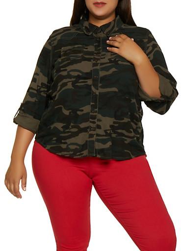Plus Size Camo Long Sleeve Shirt,OLIVE,large