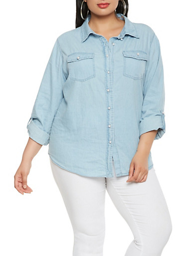 Plus Size Chambray Faux Pearl Button Front Shirt,LIGHT WASH,large