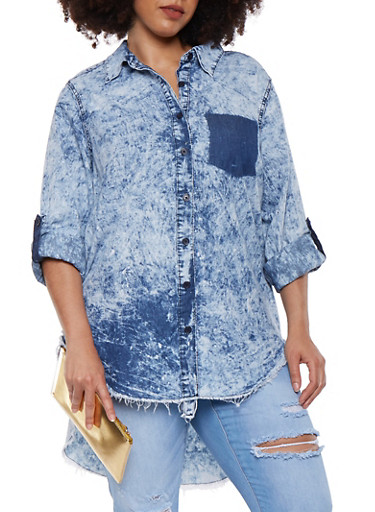 Plus Size Acid Wash High Low Denim Shirt,STONE,large