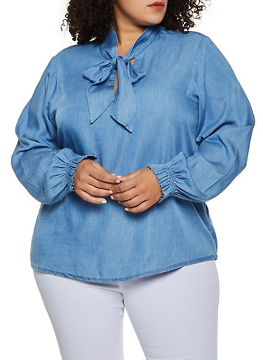 Plus Size Tie Neck Chambray Top,MEDIUM WASH,large