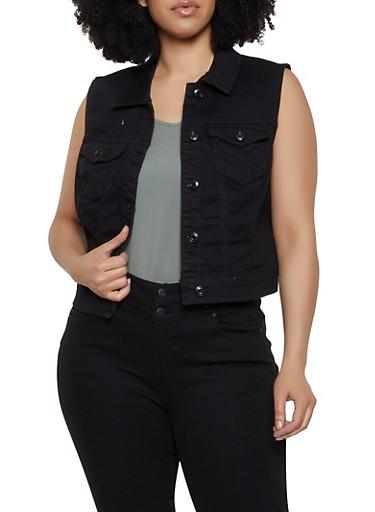 Plus Size WAX Jean Vest,BLACK,large
