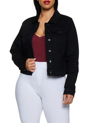 Plus Size WAX Denim Jacket | 3876071610017,BLACK,large