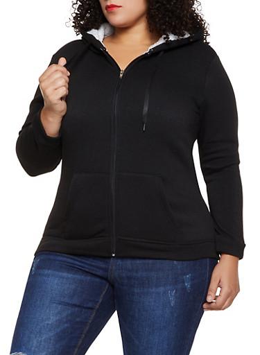 Plus Size Sherpa Lined Zip Front Sweatshirt,BLACK,large