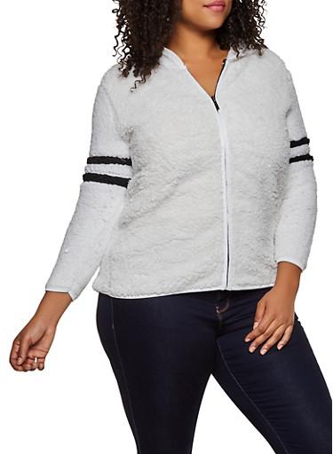 Plus Size Hooded Sherpa Zip Jacket,IVORY,large