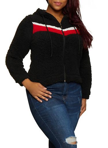 Plus Size Chevron Detail Sherpa Jacket,BLACK,large